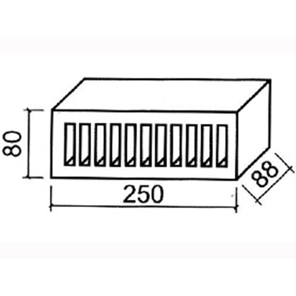 11.101600 Lode щелевой фасадный красный гладкий  250х80х88 (распродажа, остаток 9680 шт)